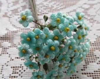 Czech Republic Velvet Forget Me Nots Millinery Fabric Flowers Aqua