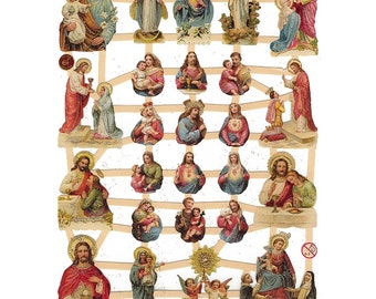 Glittered Religious Scraps Made In Germany Die Cut Jesus Sacred Heart  G7318G