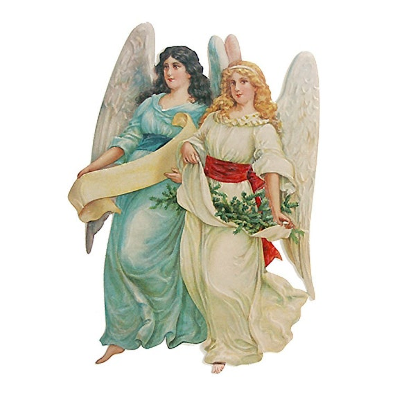 Made In Germany Large Lithograph Die Cut Paper Scrap  Victorian Angels  5063