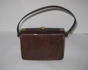 Vintage Imitation Snake Skin Purse Handbag Mid Century