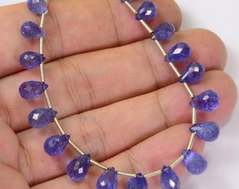 49.10CT Tanzanite Faceted Full Teardrop Briolettes Beads 8 inch Strand