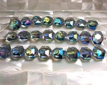 8pcs 15mm Chinese Crystal Hexagon shape Glass Beads Blue Jewelry Jewellery Craft Supplies