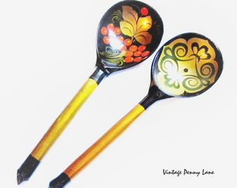 Vintage Painted Wood Spoons, Toleware Lacquer