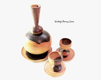Vintage Carved Miniature Wood Vase, Plates, Goblets / Figurines
