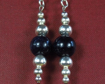 Number 912. Bluestone and Silvery Random Bead Earrings