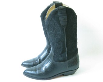 Vintage Black Leather Boho Cowboy Boots. Size 6 1/2