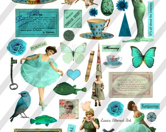 Digital Collage Sheet, Pretty in Teal Images (Sheet no. O240) Instant Download, PNG Included