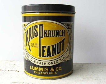 Vintage 1940's Krisp Krunch Peanut Candy Advertising Tin in BlueBlack and Yellow, Small Storage Tin, Candy Tin, Nut Tin, Vintage Advertising