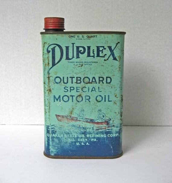 Vintage 1950 Duplex Outboard Motor Oil By Kelleystreetvintage