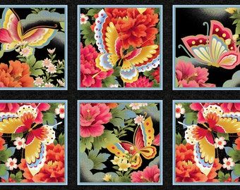 Butterfly Fantasy Red Kona Bay Fabric Panel