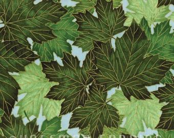 Leaves GreenTreeline Drive Mist Gold Hoffman Fabric 1 yard