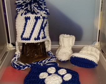 University of, Kentucky, Baby Diaper Set, UK, Photo Prop, Newborn Hat, Booties, Diaper Cover, Wildcats, Go Big Blue, Bleed Blue, Baby Shower