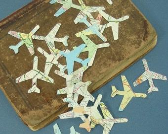 Airplane Confetti Vintage Map Atlas Travel Theme Graduation Party Wedding Favor Decor 500 Pieces