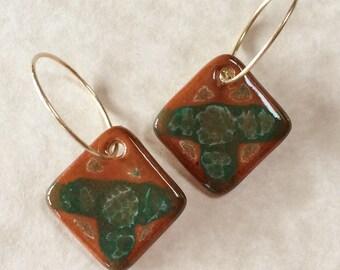 Porcelain Earrings Glazed in Earthy Tones