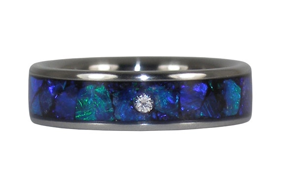 Black Opal Diamond Titanium Ring
