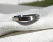 Titanium Gold Ring or Wedding Band, Thin Yellow Gold Pinstripe Inlay