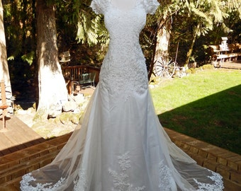 Heather-Handmade Beautiful layered Wedding Dress-Alencon Lace-Petite to full figure-Deposit of 150 to hold-CRBoggs Designs Original