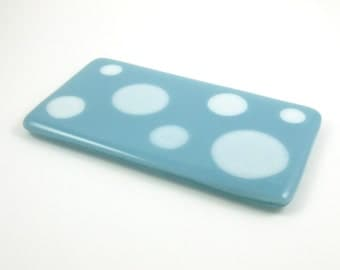 Fused Glass Spoon Rest Blue and White Polka Dot