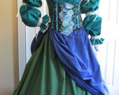 DDNJ 4pc Reniassance Corset Style Underbust Bodice Chemise Skirts Plus Custom Made Any Size Anime Steampunk Costume Pirate Gypsy Merchant