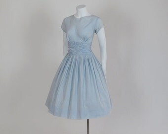 1950s dress / Little Blue Bow Peep Vintage 50's Gingham Ruched Dress Full Pleated Skirt