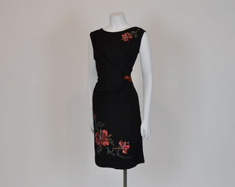 50s dress / Hibiacus Honey Vintage 1950's Hand Painted Crepe Dress