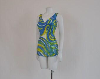 1960's Swimsuit / Sea Stars Swirly Goodness Vintage 60's Op Art Swim Suit