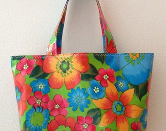 Beth's Medium Lime Green London Oilcloth Market Tote Bag