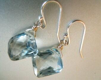 Aquamarine quartz free-form earrings, Light blue earrings, Geometric Earrings, dangle Earrings, sparkly earrings