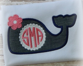 Monogram Whale Girl Embroidery Applique Design