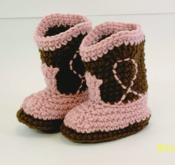 Cowgirl Baby Booties  Dark Brown & Old Light  Rose Crochet Cowboy Boots