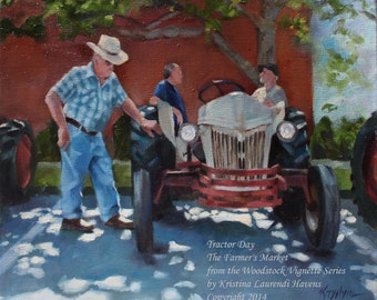 Tractor Day at the Farmer's Market - Original Oil Painting from the Woodstock Vignette Series by Kristina Laurendi Havens