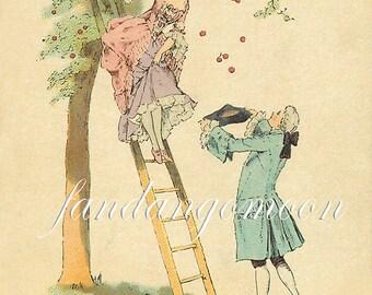18th Century Romantic Couple Picking Cherries Image French Post Card Image Ephemera Vintage Scrapbook Instant Digital Download