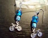 unique beaded bicycle earrings blue, pink, purple or orange