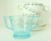 Blue Glass Diamond Quilted Sugar Bowl  Imperial Depression Glass