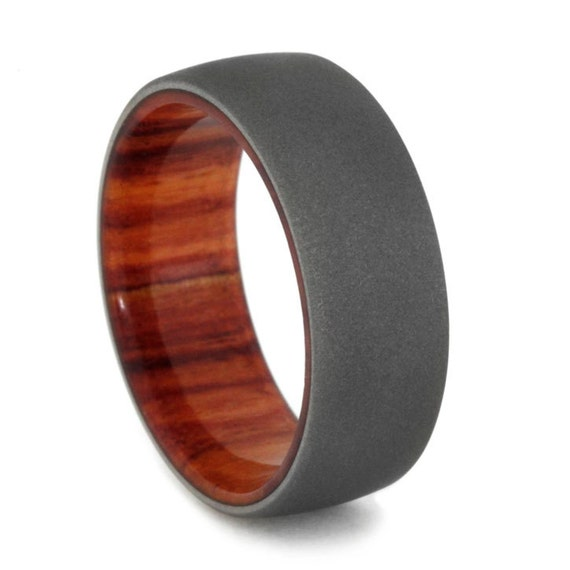 tulip wood wedding band with sandblasted by jewelrybyjohan