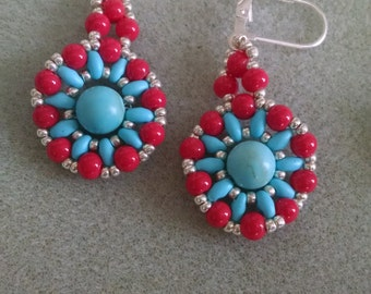 Earring ,Silver Red and Turquoise Beaded