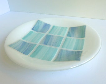 Fused Glass Round Plate in Shades of Aqua, White and Blue