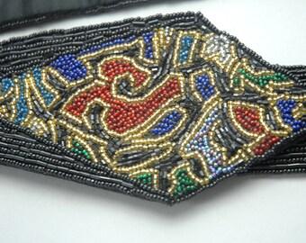 Christian Dior silk beaded belt | vintage 1980s belt / vintage christian dior