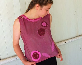 Hand Dyed Flower Application Pull Over  - Sun Top with a Twist  - made by kathrin kneidl for Resplendent Rags