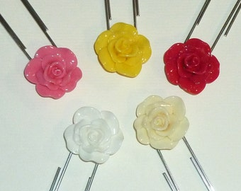 Jumbo Resin Rose Flower Paper Clip or Bookmark - Planner Paper Clips You Choose Color - Red, Yellow, Pink, White or Ivory - Jumbo Paper Clip