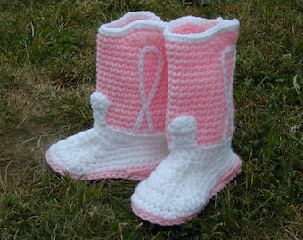 Crocheted Cowboy Cowgirl Boot Booties Pink/White Size 5  Baby Shoe