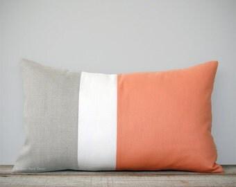 Mod Lumbar Colorblock Pillow Cover - Cantaloupe - Color Block Pillows by JillianReneDecor - Home Decor - Mid Century - Cadmium Orange Peach