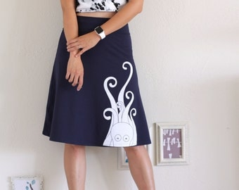 Whimsical skirts for Women, Women Navy Blue Jersey Knee Length A-line Skirt, Womens cute skirts, Midi Skirt, Handmade Skirt - Giant Octopus