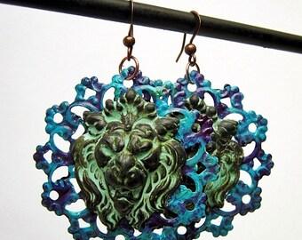 Lion Earrings, Lions Head, Ocean Blue, Patina Green, Purple Grape, Whimsical Jewelry, Handmade