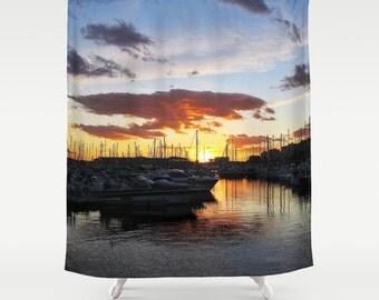 Sunset Shower Curtain, Marina Bathroom, Boat Home Decor, Nautical Photo Shower Curtain, Cloudy, Nature, Modern Home Decor, Yacht