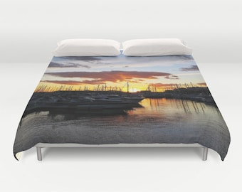 Sunset Duvet Cover, Boat Decorative bedding, unique design, modern, Nautical comforter cover, Marina bedding, Beach, Surf, Water,Yacht,Ocean