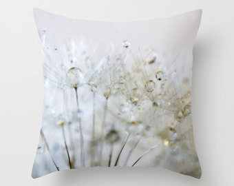 Gold Silver Throw Pillow, Dandelion, Outdoor, Patio, Make a Wish Decorative Pillow, Nature Cushion, Wedding Gift, Water Drops, Holiday, Dew