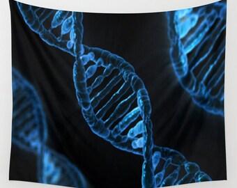 DNA Wall Tapestry, Vivid Blue Wall Art , Science Art Tapestry, Modern Decor, Home, Dorm Tapestry, Dorm Wall Art, Outdoor,Blue Black Tapestry