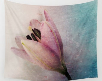 Lily Wall Tapestry, Large Flower Wall Art, Flower Tapestry, Pink Teal Blue Tapestry, Petals, Modern Decor, Nature, Wedding Gift, Whimsical