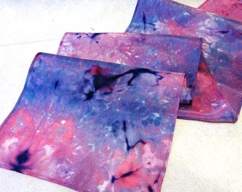 Hand-dyed Silk Scarf, Silk Scarf, Ice Dyed Silk Scarf, Pink Silk Scarf, Purple Silk Scarf, Lavender Silk Scarf (#S-7-15-6)